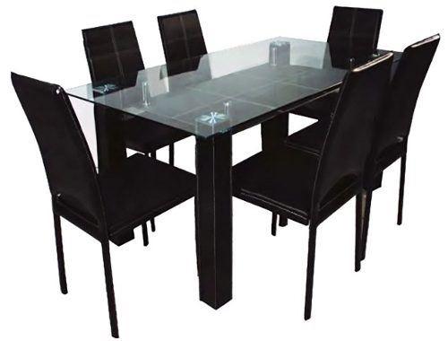 Juego comedor vidrio 6 sillas tapizadas negro v a confort for Comedor vidrio 6 sillas