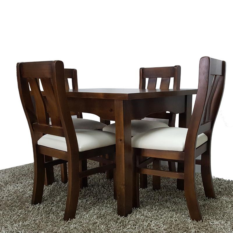 Juego comedor y cocina de 4 sillas 100 madera maciza gh for Sillas para comedor redondo