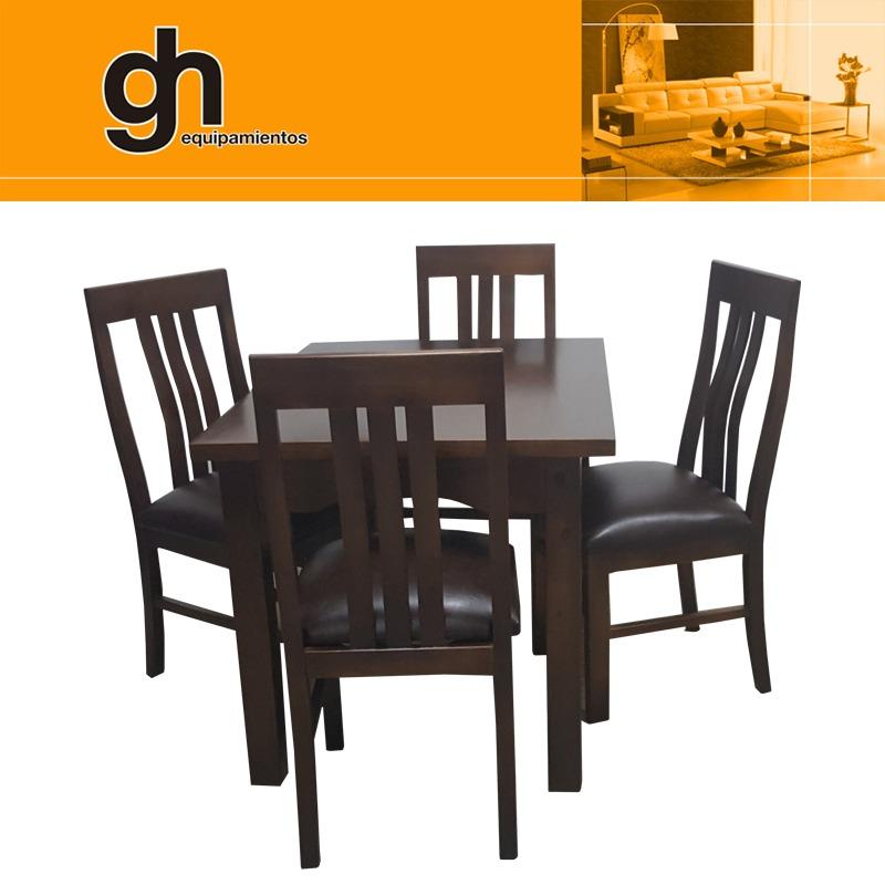 Juego comedor y cocina de 4 sillas 100 madera maciza gh en mercado libre for Comedor 4 sillas madera