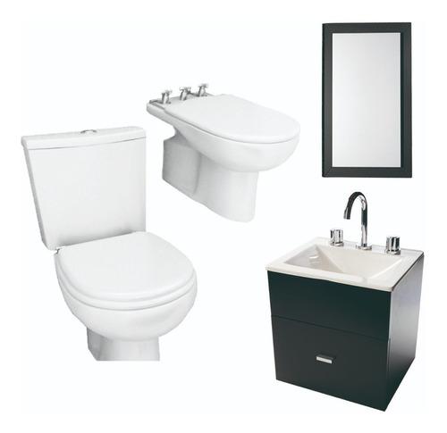juego completo baño inodoro vanitory 40cm espejo- cuotas