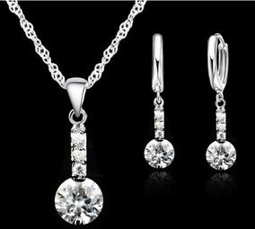 cbcb565a Juego Conjunto Joyas Joyería Cadena Collar Aretes Para Mujer