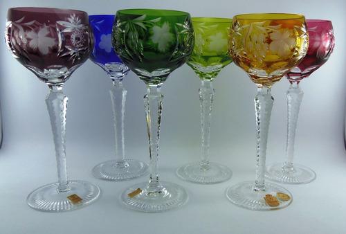 juego copas 21cm cristal alemán tallado encamisado nachtmann