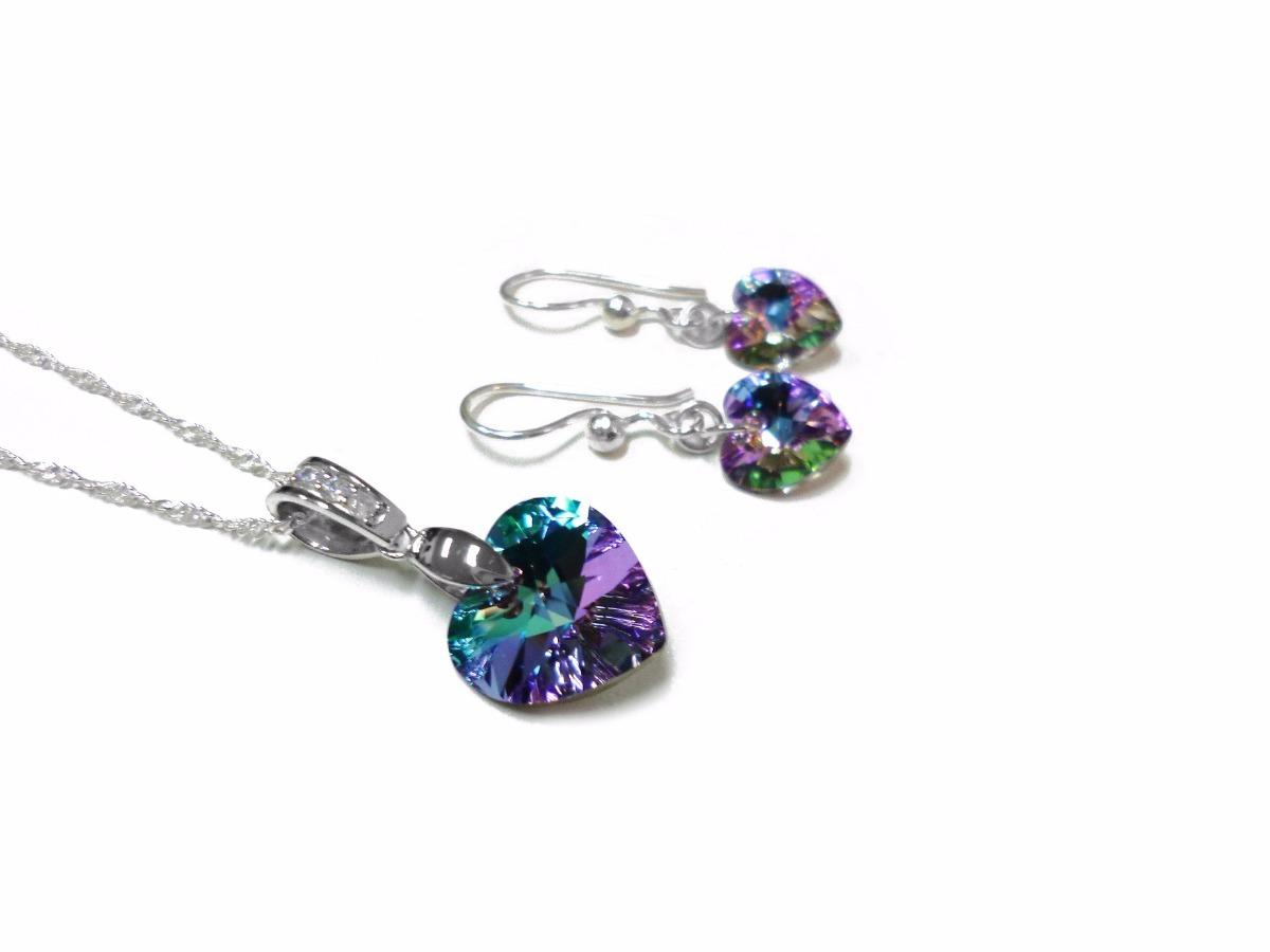 9387877d311e juego corazon vitrai light cristales swarovski plata 925. Cargando zoom.