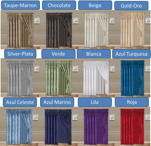 juego cortinas cenefa tipo seda cafe chocolate 2.80x2.00