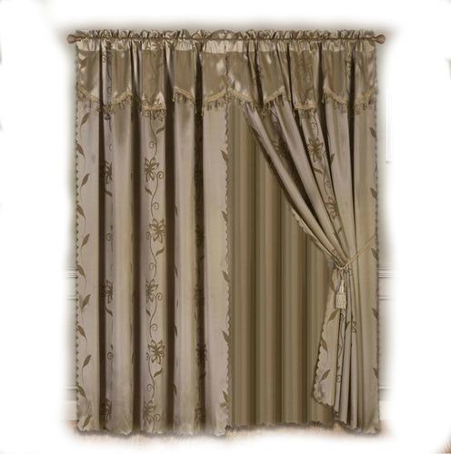 juego cortinas cenefa tipo seda taupe cafe marron 2.80x2.00