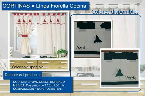 juego cortinas cocina fiorella 665 c/ bordado tela rustica