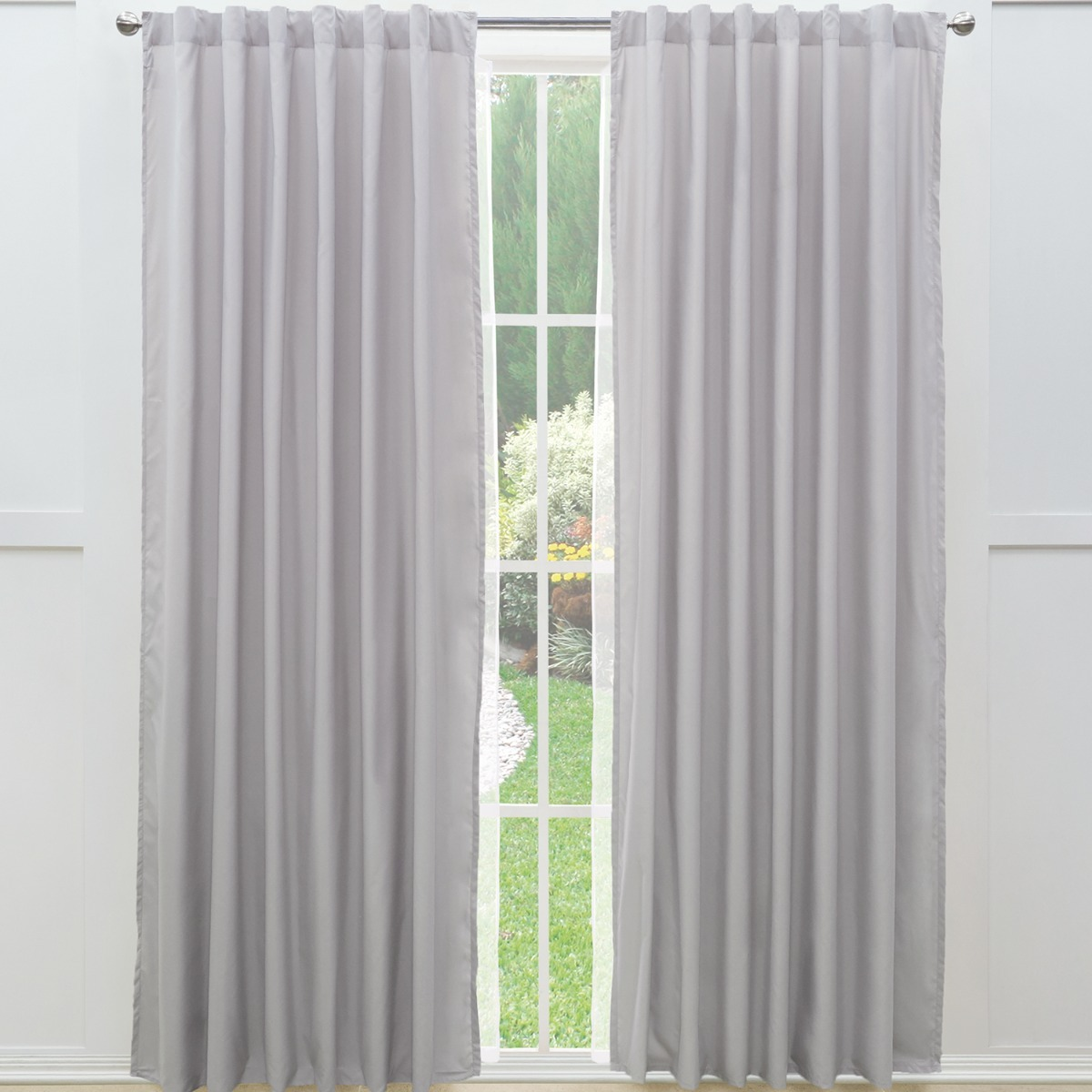 Juego cortinas largas viasoft gris claro vianney 479 for Cortinas largas