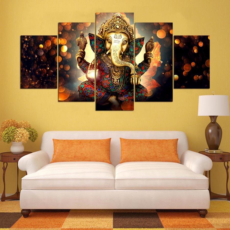 Juego cuadros decorativos hindu ganesha listos para colgar for Cuadros decorativos comedor