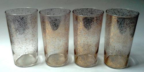 juego cuatro vasos cilindro vidrio escarcha dorada