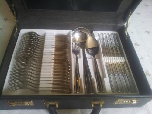 juego cubiertos acero inox 18/10 y bordes oro coronario 24k