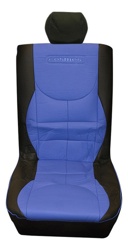 juego cubre asiento simil cuero negro/azul