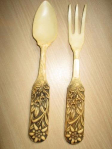 juego cuchara tenedor madera mangotallado