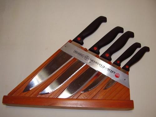 juego cuchillas mundial de filo laser con soporte de madera