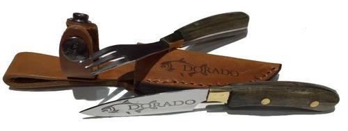 juego cuchillo tenedor logo dorado 17cm + vaina de cuero