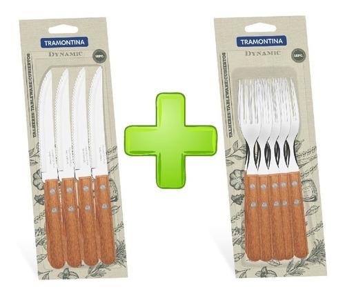 juego cuchillo tenedor tramontina dynamic madera 24 piezas