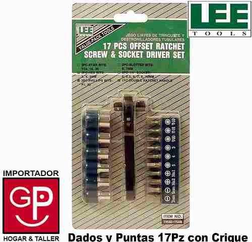 juego dados y puntas dest manija criquet 17 pz lee tools g p