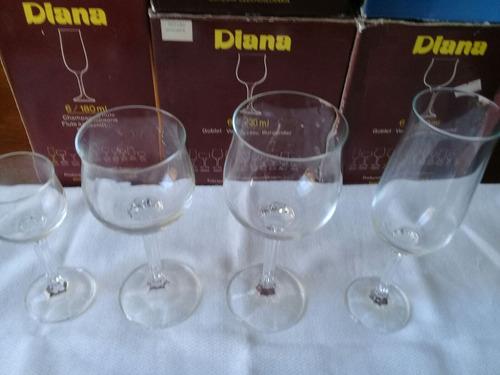 juego de 12 copas bohemia vino - cristal checoslovaco diana