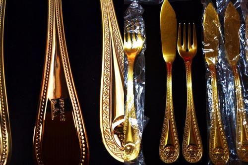 juego de 12 cubiertos versace by rosenthal medusa gold 24k