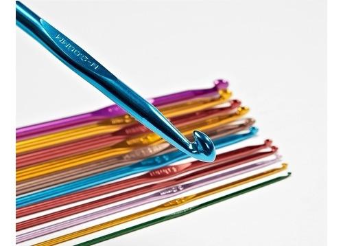 juego de 14 agujas de crochet colores de aluminio (2 al 10)