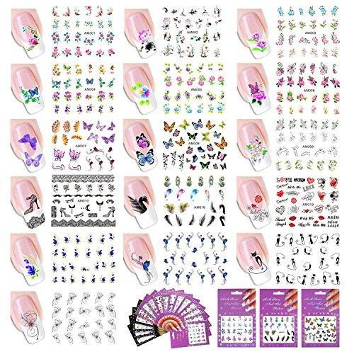 juego de 16 pegatinas para manicura y pedicura