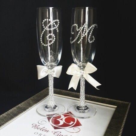 Juego de 2 copas para brindis boda y xv a os - Como decorar copas para boda ...