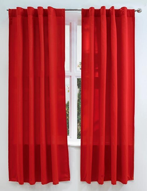 Juego de 2 cortinas cortas viasoft rojo vianney envio for Cortinas cortas