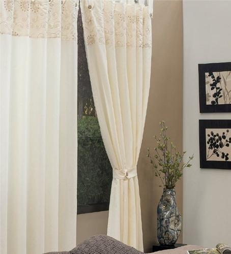 juego de 2 cortinas morelia bordadas vanney envio gratis