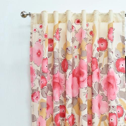 juego de 2 cortinas rosas vianney flores envio gratis
