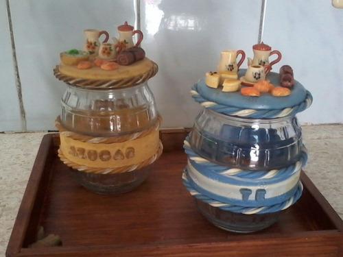 juego de 2 frascos decorados azucar y te con tapa rosca