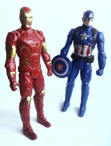 juego de 2 muñecos de iron man capitan america juguete niños