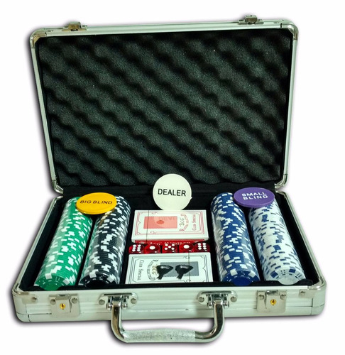juego de 200 fichas de poker 2 deck y dados