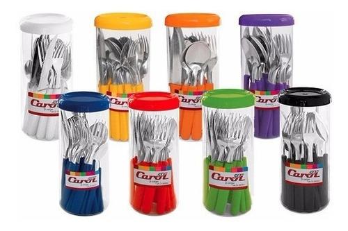 juego de 24 cubiertos de colores set carol + jarro de regalo