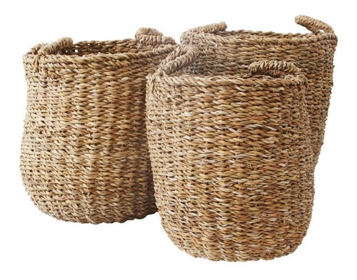 juego de 3 cestos fibra natural