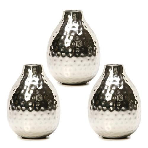 juego de 3 jarrones de bud de metal. para uso decorativo