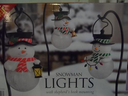 juego de 3 muñecos de nieve con luz solar