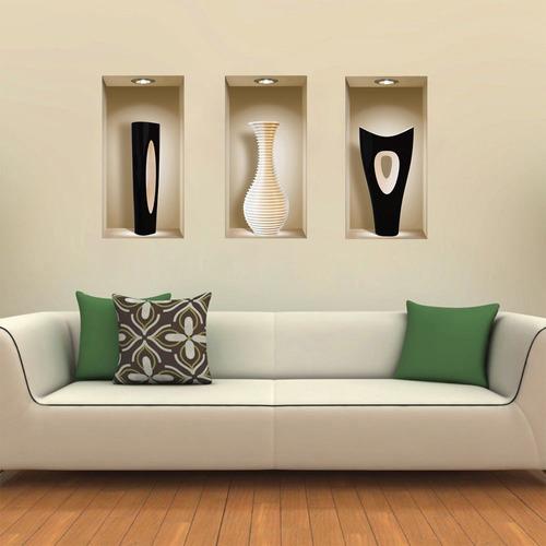 juego de 3 murales de jarrón 3d, extraíbles, adhesivos decor