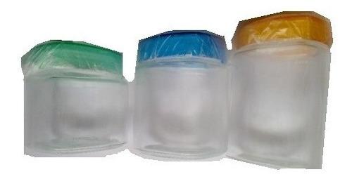 juego de 3 potes de cocina - vidrio c/tapa acrílica - remato
