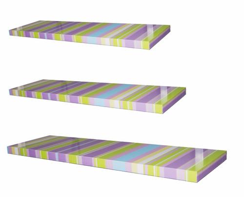 juego de 3 repisas rectas flotantes forradas con textura