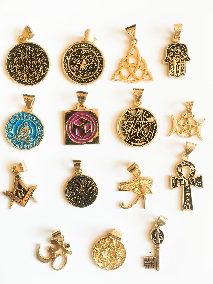 juego de 4 dijes amuletos a elegir chapa de oro esoterismo
