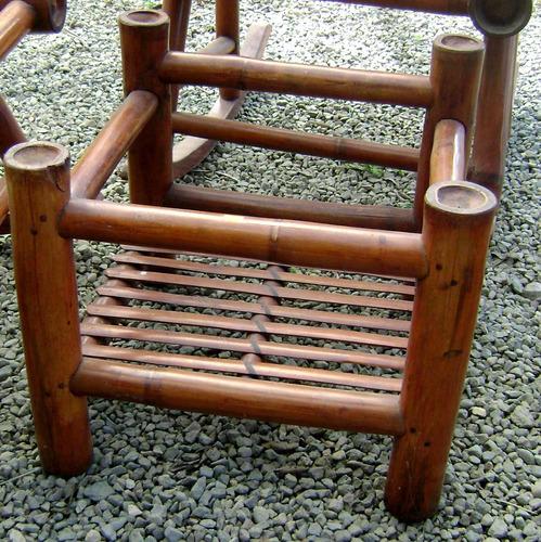juego de 4 mecedoras en bambu grueso