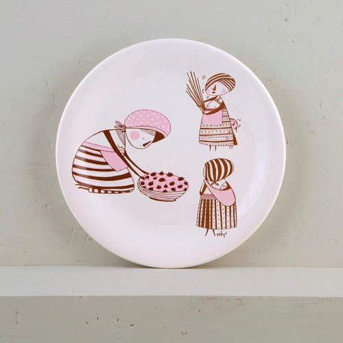 juego de 4 platos postre de diseño decorados cerámica | mc