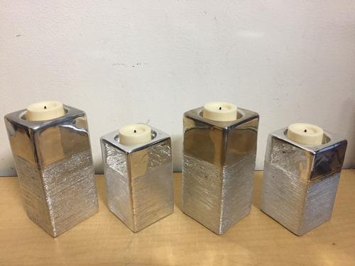 juego de 4 porta velas cerámica con velas de batería c2