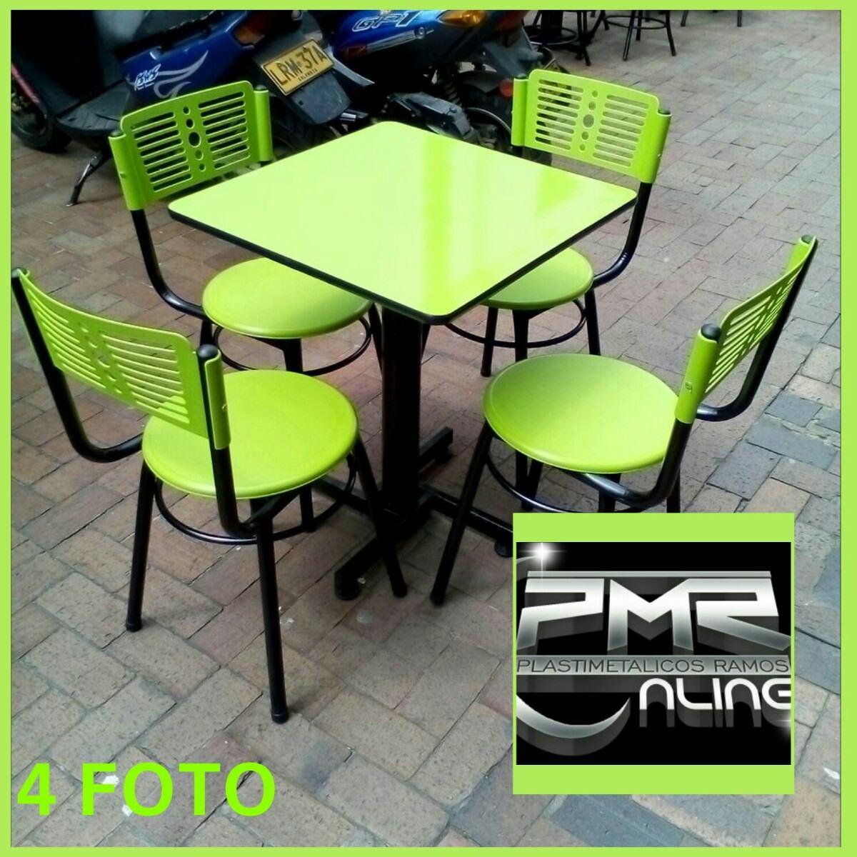 Juego de 4 silla karla y mesa para cafeteria restaurante for Mesas para cafeteria