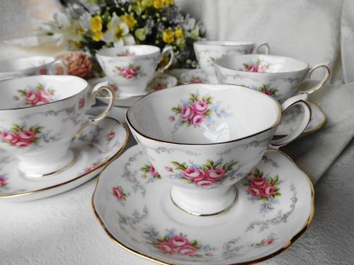 juego de 4 tazas de te de fina porcelana inglesa.taza+plato