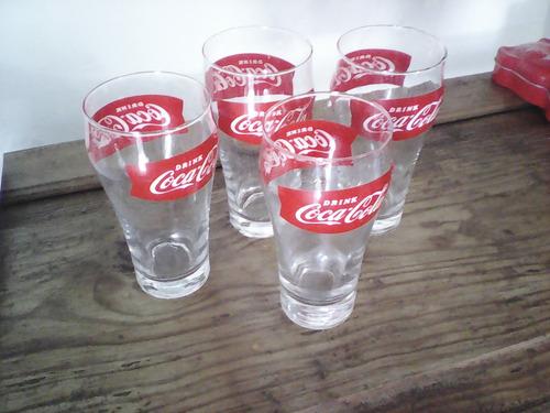 juego de 4 vasos de coca cola de vidrio