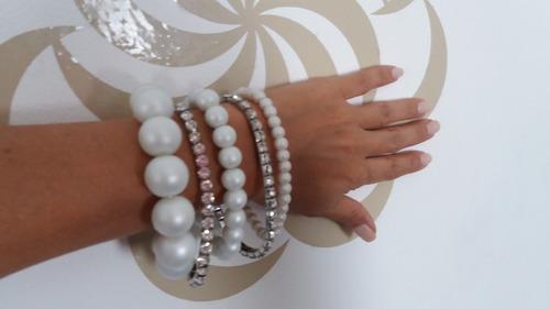 juego de 5 pulseras de perlas y strass