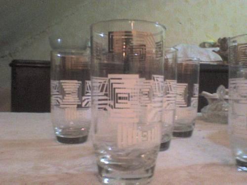 juego de 5 vasos wiskeros con aplicacion pan de oro