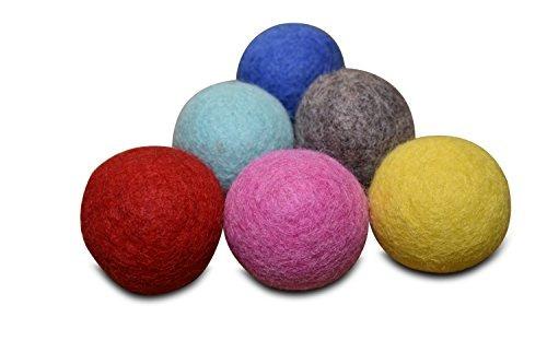 juego de 6  100% fieltro de lana bola juguetes para gatos y
