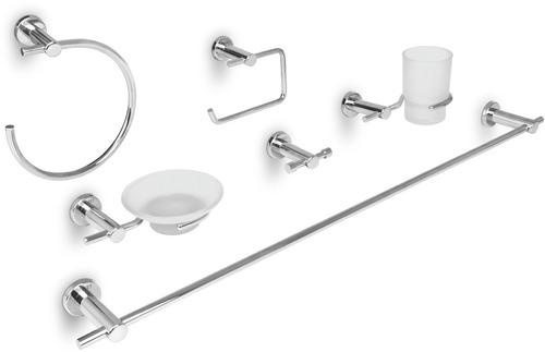 Juego de 6 accesorios para ba o acabado cromo foset 49681 for Juego accesorios bano