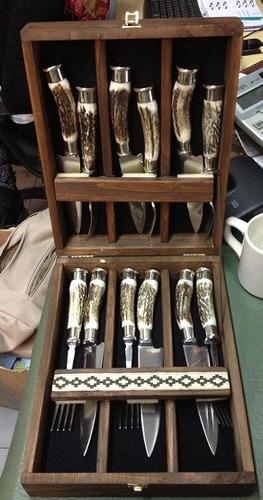 juego de 6 cuchillos + 6 tenedores argentina hoja 12cm inox